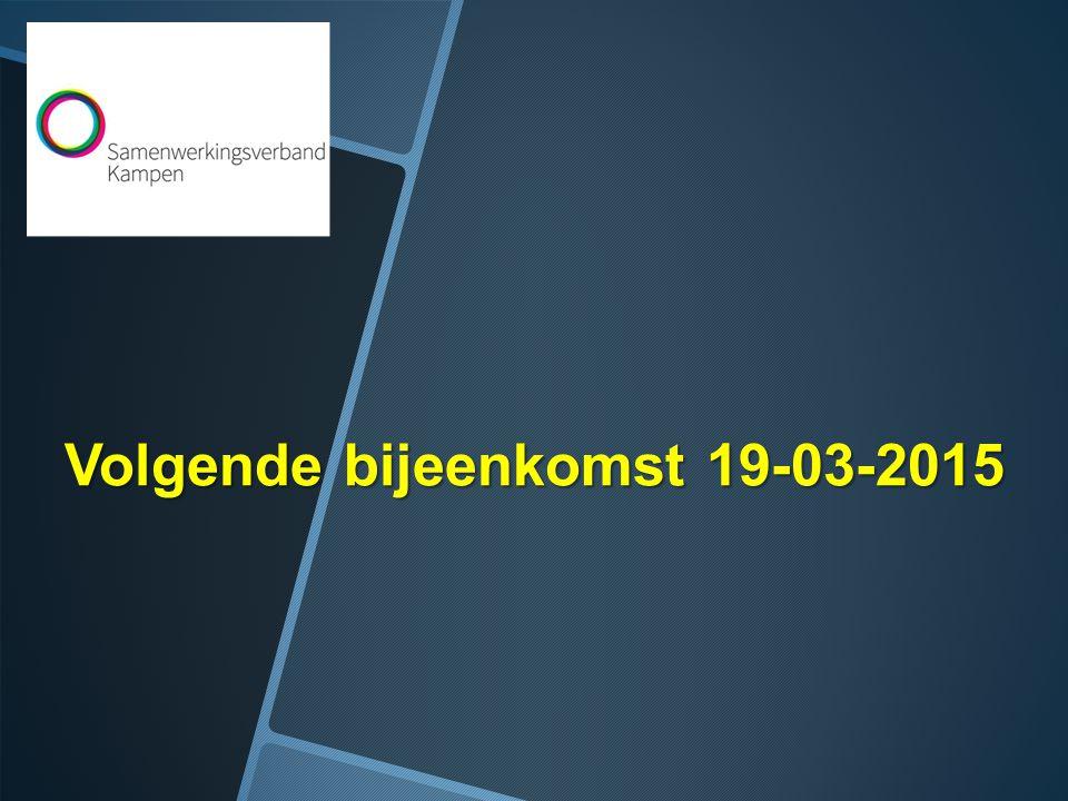 Volgende bijeenkomst 19-03-2015