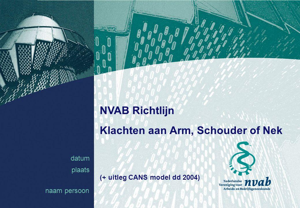 datum naam 1 datum plaats NVAB Richtlijn Klachten aan Arm, Schouder of Nek (+ uitleg CANS model dd 2004) naam persoon