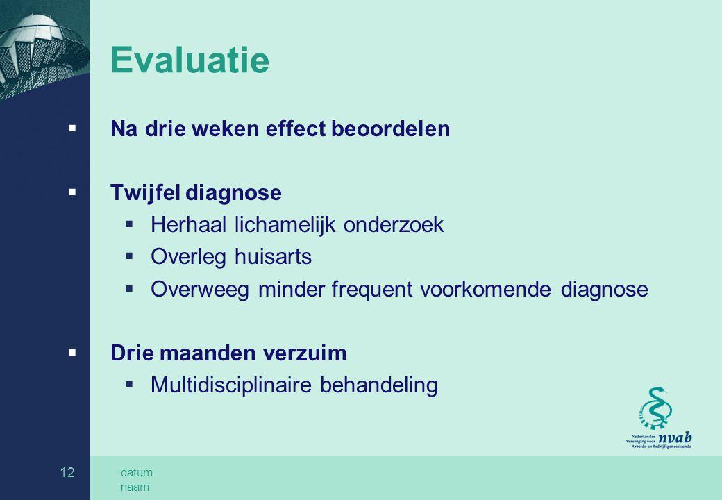 datum naam 12 Evaluatie  Na drie weken effect beoordelen  Twijfel diagnose  Herhaal lichamelijk onderzoek  Overleg huisarts  Overweeg minder freq