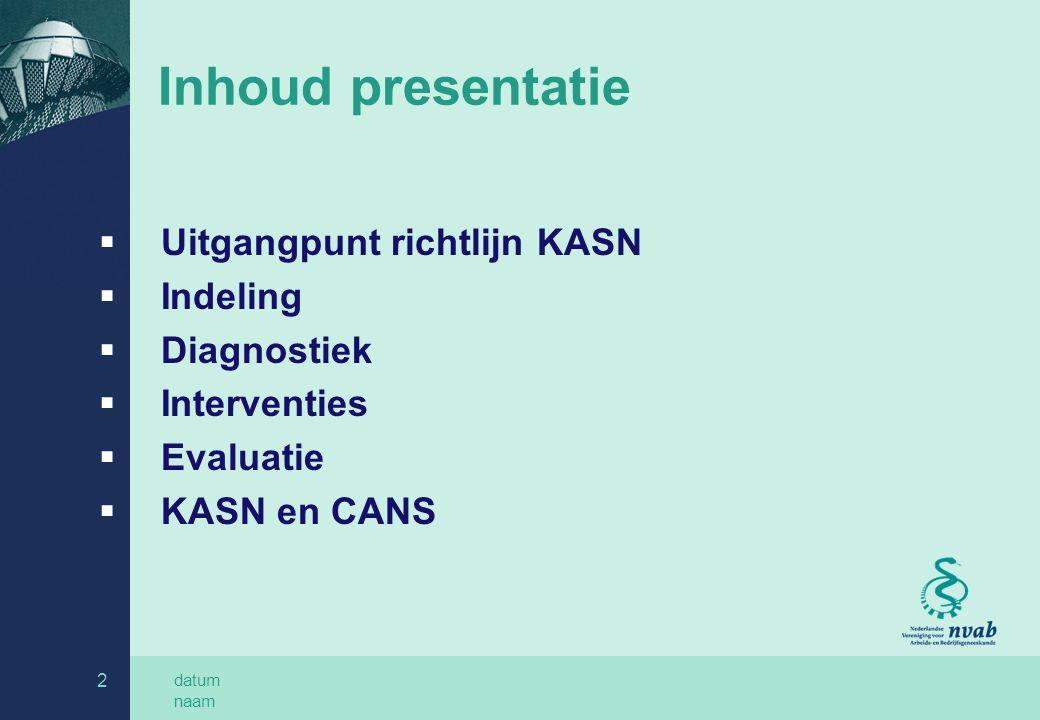 datum naam 2 Inhoud presentatie  Uitgangpunt richtlijn KASN  Indeling  Diagnostiek  Interventies  Evaluatie  KASN en CANS