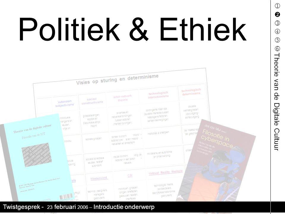 Twistgesprek - 23 februari 2006 – Introductie onderwerp     Politiek & Ethiek Theorie van de Digitale Cultuur