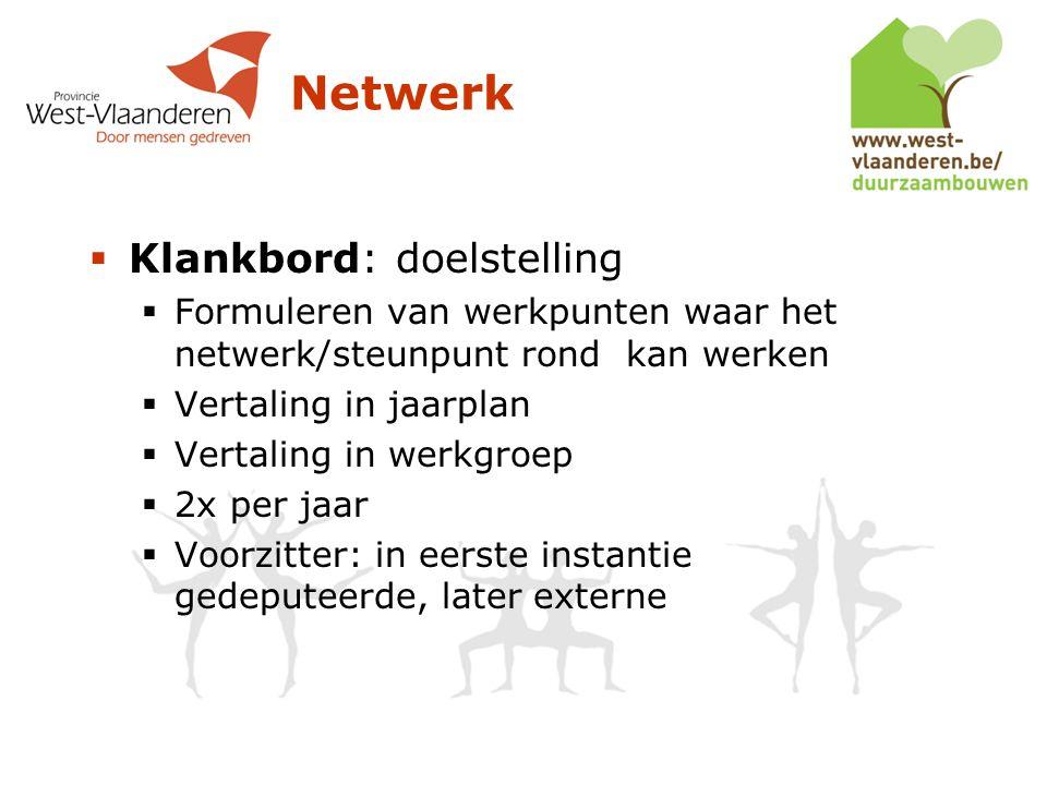 Netwerk  Klankbord: doelstelling  Formuleren van werkpunten waar het netwerk/steunpunt rond kan werken  Vertaling in jaarplan  Vertaling in werkgroep  2x per jaar  Voorzitter: in eerste instantie gedeputeerde, later externe