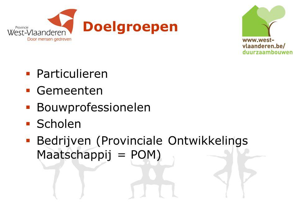 Doelgroepen  Particulieren  Gemeenten  Bouwprofessionelen  Scholen  Bedrijven (Provinciale Ontwikkelings Maatschappij = POM)