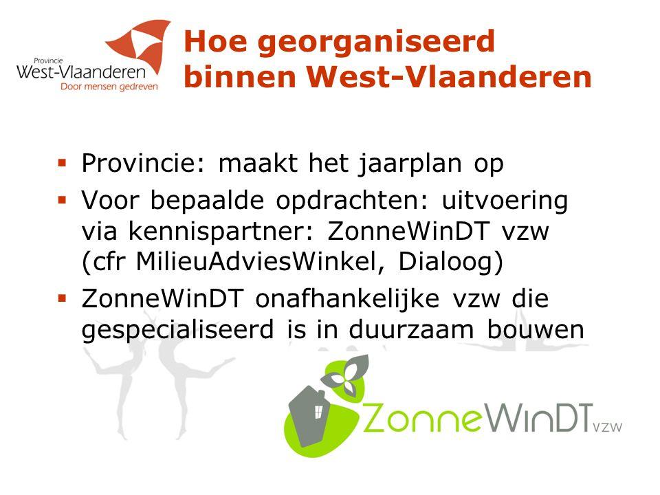 Hoe georganiseerd binnen West-Vlaanderen  Provincie: maakt het jaarplan op  Voor bepaalde opdrachten: uitvoering via kennispartner: ZonneWinDT vzw (cfr MilieuAdviesWinkel, Dialoog)  ZonneWinDT onafhankelijke vzw die gespecialiseerd is in duurzaam bouwen