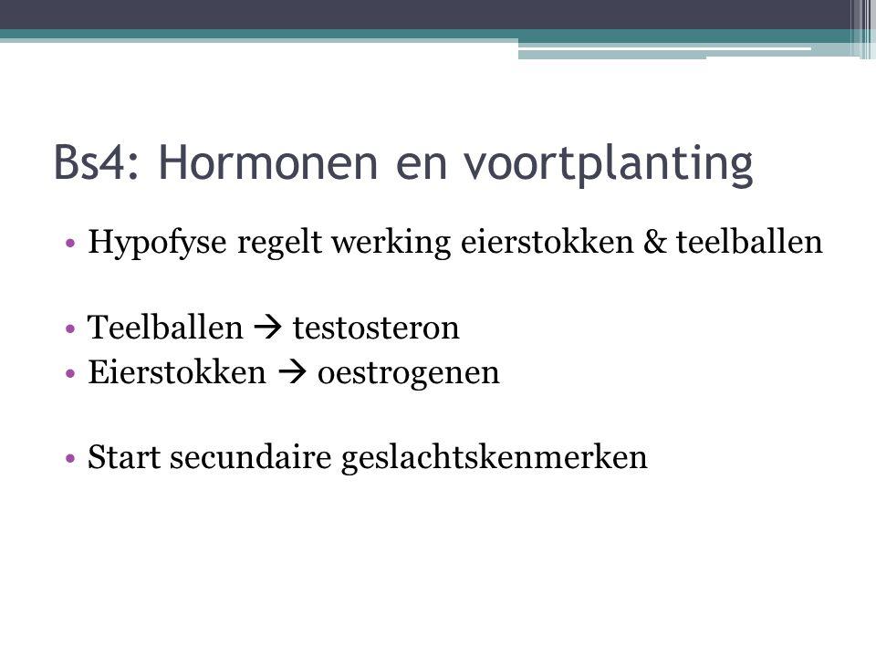 Bs4: Hormonen en voortplanting Hypofyse regelt werking eierstokken & teelballen Teelballen  testosteron Eierstokken  oestrogenen Start secundaire ge