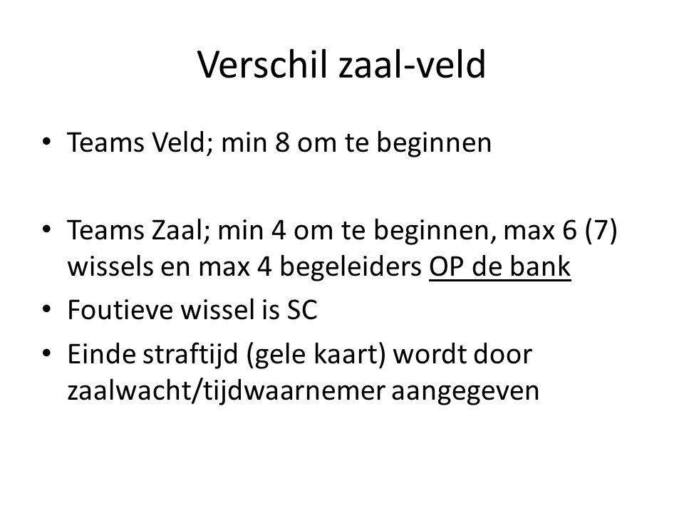 Verschil zaal-veld Teams Veld; min 8 om te beginnen Teams Zaal; min 4 om te beginnen, max 6 (7) wissels en max 4 begeleiders OP de bank Foutieve wissel is SC Einde straftijd (gele kaart) wordt door zaalwacht/tijdwaarnemer aangegeven