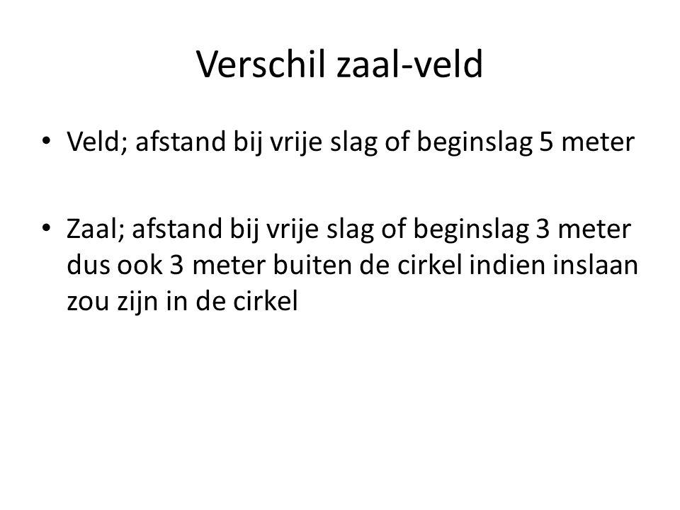 Verschil zaal-veld Veld; afstand bij vrije slag of beginslag 5 meter Zaal; afstand bij vrije slag of beginslag 3 meter dus ook 3 meter buiten de cirkel indien inslaan zou zijn in de cirkel