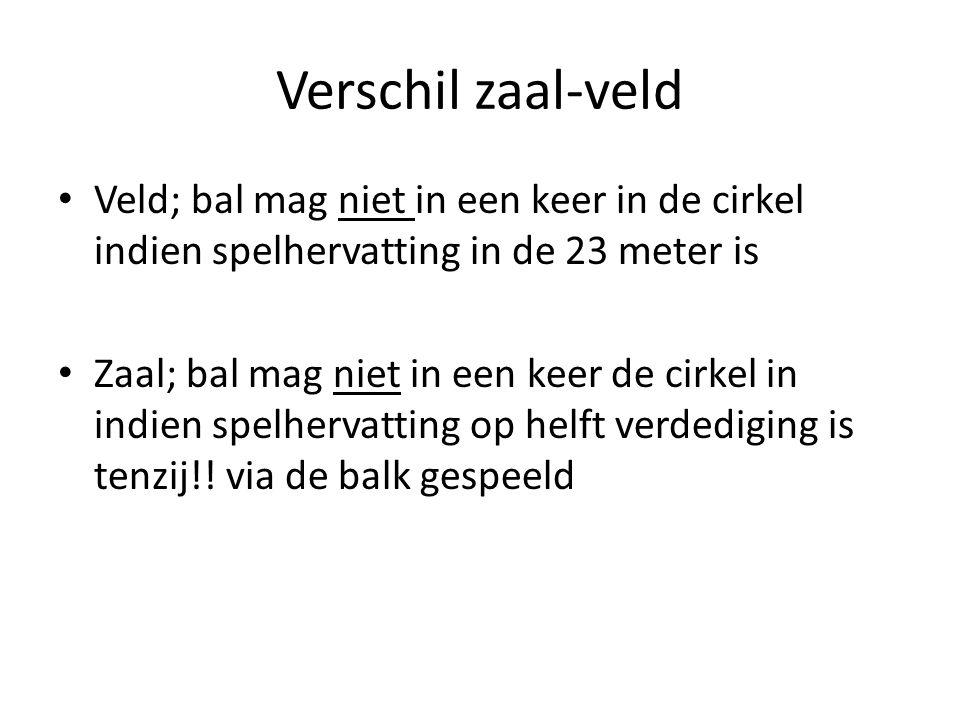 Verschil zaal-veld Veld; bal mag niet in een keer in de cirkel indien spelhervatting in de 23 meter is Zaal; bal mag niet in een keer de cirkel in ind