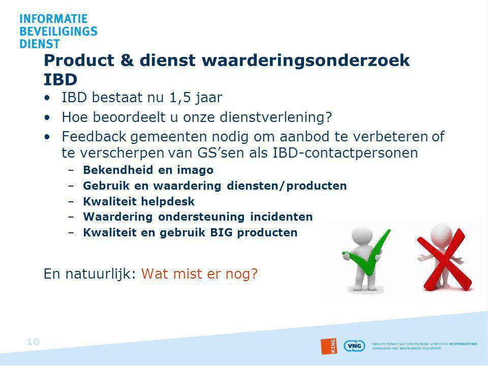 Product & dienst waarderingsonderzoek IBD IBD bestaat nu 1,5 jaar Hoe beoordeelt u onze dienstverlening? Feedback gemeenten nodig om aanbod te verbete
