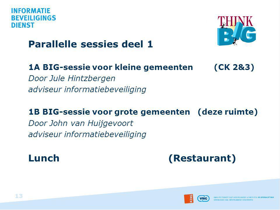 Parallelle sessies deel 1 1A BIG-sessie voor kleine gemeenten (CK 2&3) Door Jule Hintzbergen adviseur informatiebeveiliging 1B BIG-sessie voor grote g
