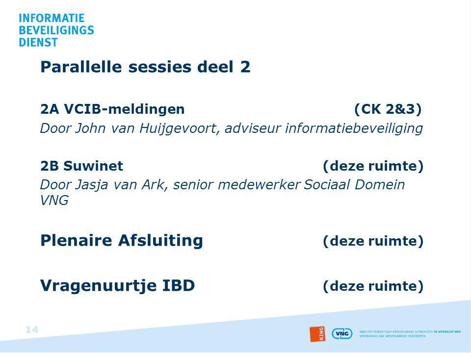 Parallelle sessies deel 2 2A VCIB-meldingen (CK 2&3) Door John van Huijgevoort, adviseur informatiebeveiliging 2B Suwinet (deze ruimte) Door Jasja van