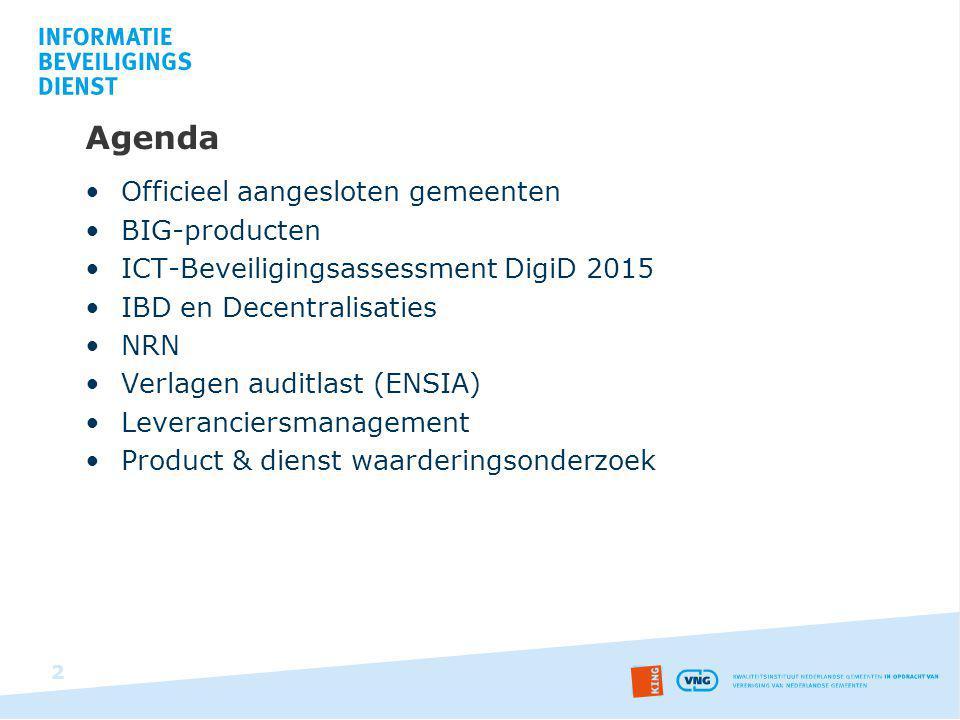 Agenda Officieel aangesloten gemeenten BIG-producten ICT-Beveiligingsassessment DigiD 2015 IBD en Decentralisaties NRN Verlagen auditlast (ENSIA) Leve