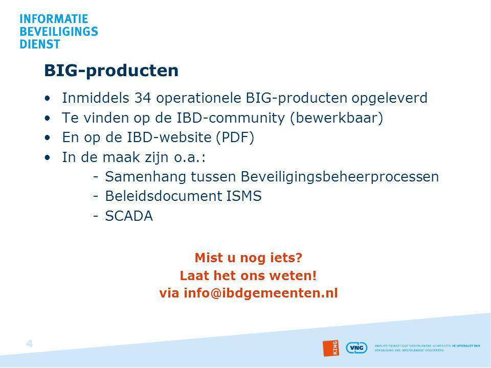 BIG-producten Inmiddels 34 operationele BIG-producten opgeleverd Te vinden op de IBD-community (bewerkbaar) En op de IBD-website (PDF) In de maak zijn