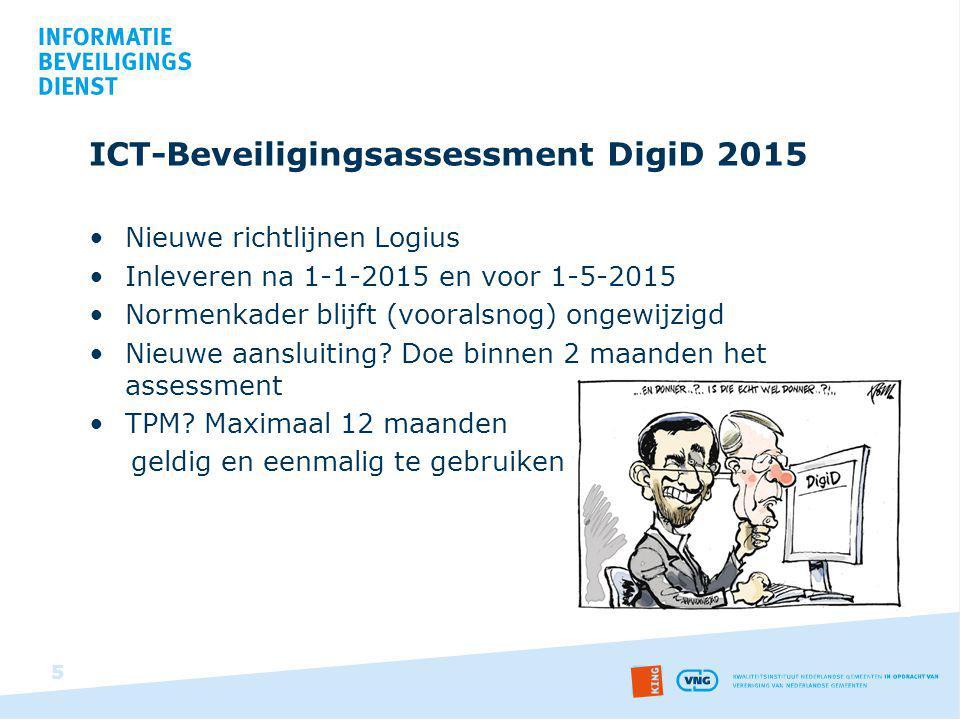 ICT-Beveiligingsassessment DigiD 2015 Nieuwe richtlijnen Logius Inleveren na 1-1-2015 en voor 1-5-2015 Normenkader blijft (vooralsnog) ongewijzigd Nie