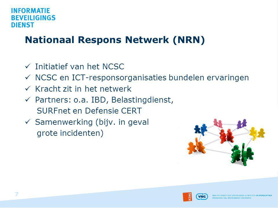 Nationaal Respons Netwerk (NRN) Initiatief van het NCSC NCSC en ICT-responsorganisaties bundelen ervaringen Kracht zit in het netwerk Partners: o.a. I