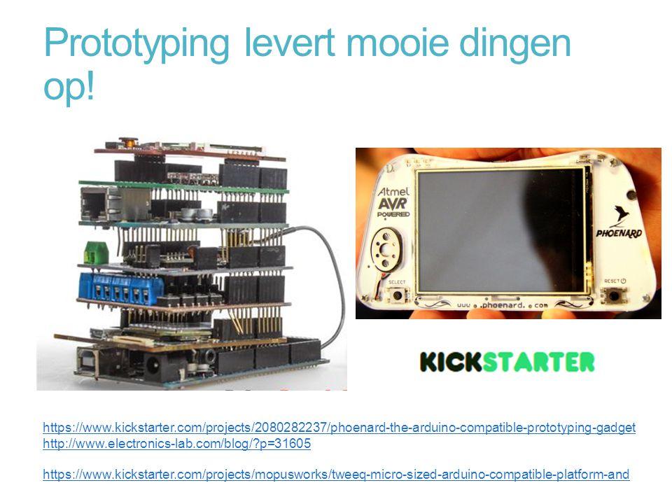 Prototyping levert mooie dingen op! https://www.kickstarter.com/projects/2080282237/phoenard-the-arduino-compatible-prototyping-gadget http://www.elec