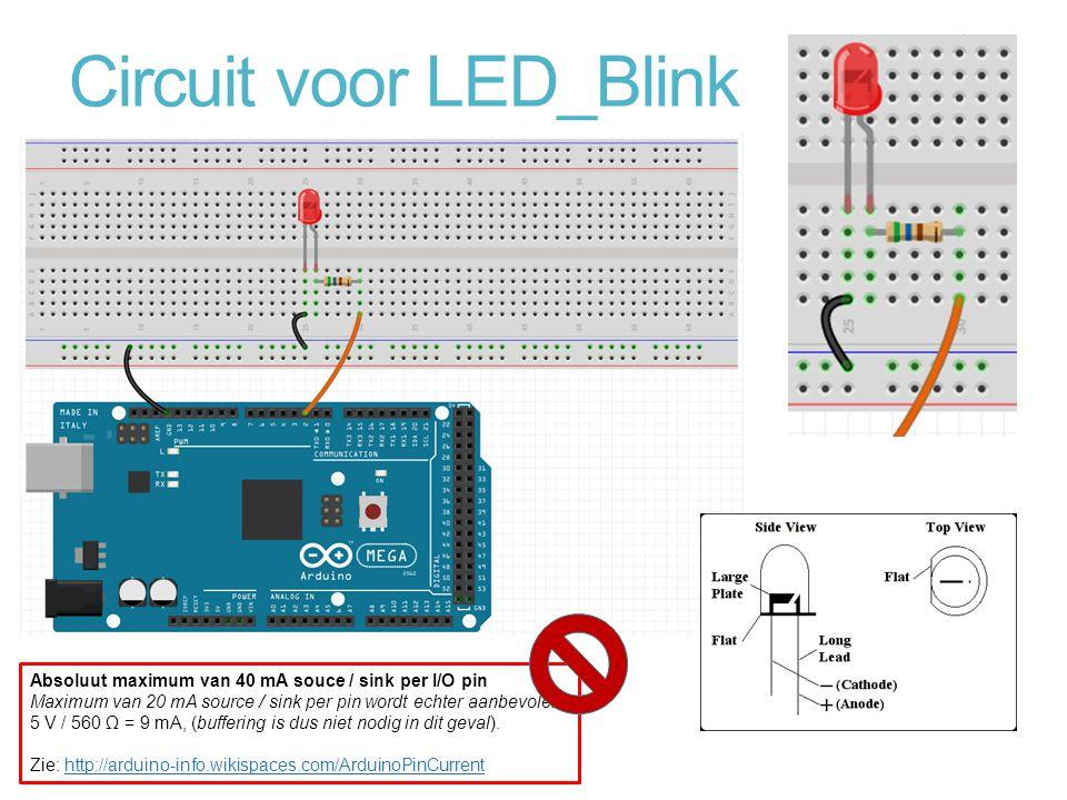 Circuit voor LED_Blink Absoluut maximum van 40 mA souce / sink per I/O pin Maximum van 20 mA source / sink per pin wordt echter aanbevolen 5 V / 560 Ω