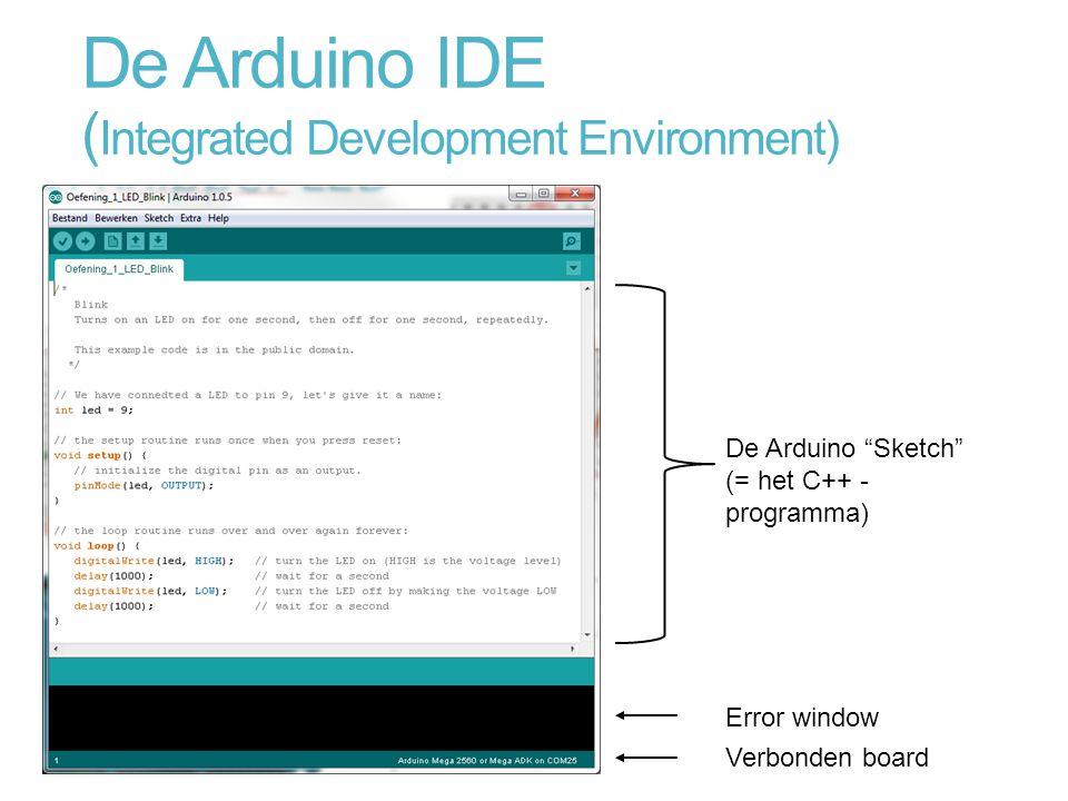 """De Arduino IDE ( Integrated Development Environment) De Arduino """"Sketch"""" (= het C++ - programma) Error window Verbonden board"""