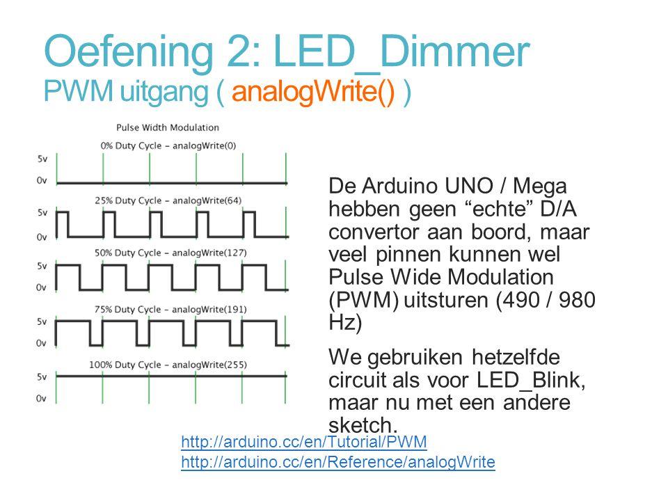 "Oefening 2: LED_Dimmer PWM uitgang ( analogWrite() ) De Arduino UNO / Mega hebben geen ""echte"" D/A convertor aan boord, maar veel pinnen kunnen wel Pu"