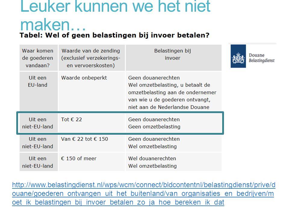 Leuker kunnen we het niet maken… http://www.belastingdienst.nl/wps/wcm/connect/bldcontentnl/belastingdienst/prive/d ouane/goederen_ontvangen_uit_het_b