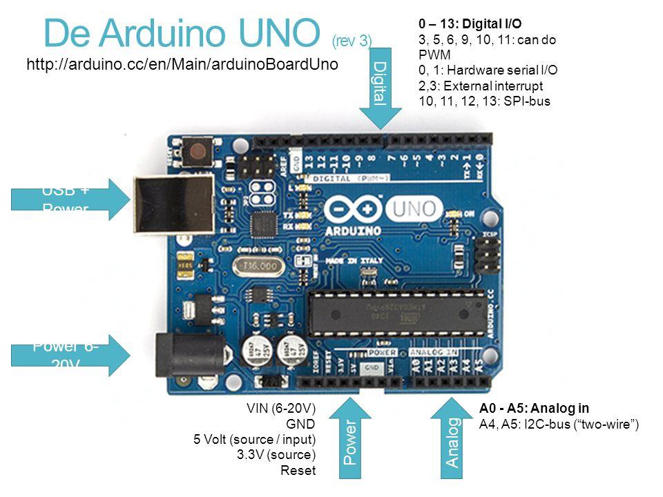 De Arduino UNO (rev 3) USB + Power Power 6- 20V Power VIN (6-20V) GND 5 Volt (source / input) 3.3V (source) Reset Analog A0 - A5: Analog in A4, A5: I2