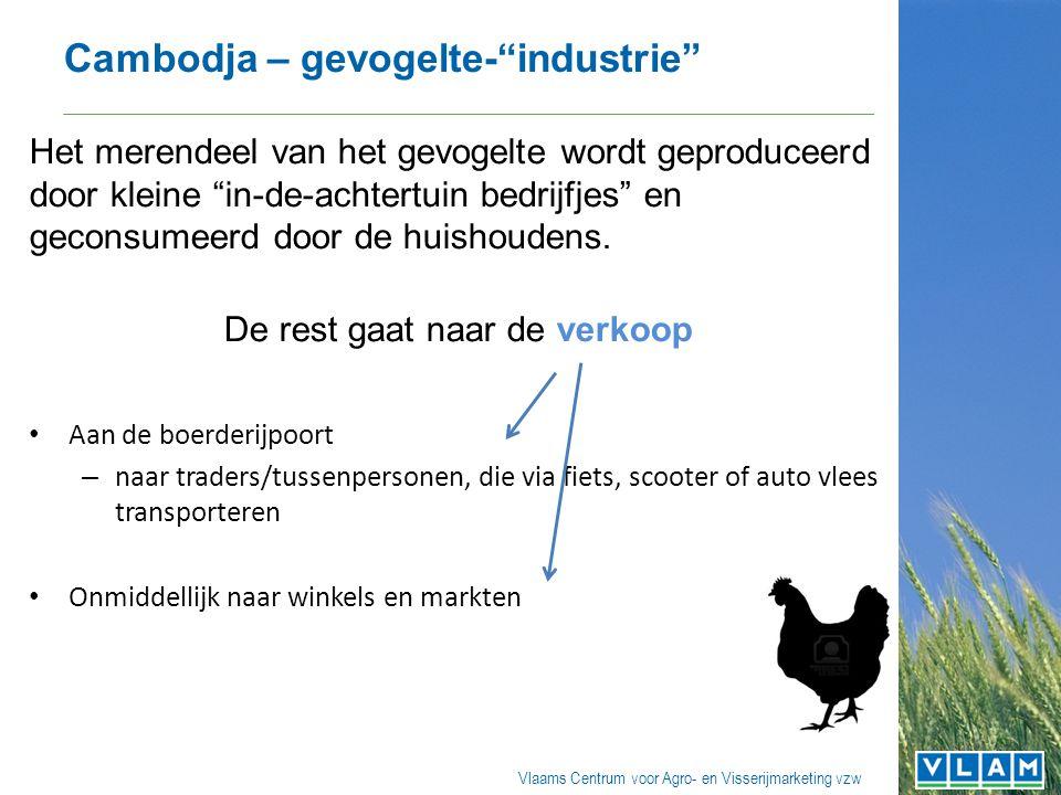 Vlaams Centrum voor Agro- en Visserijmarketing vzw Cambodja – gevogelte- industrie Het merendeel van het gevogelte wordt geproduceerd door kleine in-de-achtertuin bedrijfjes en geconsumeerd door de huishoudens.