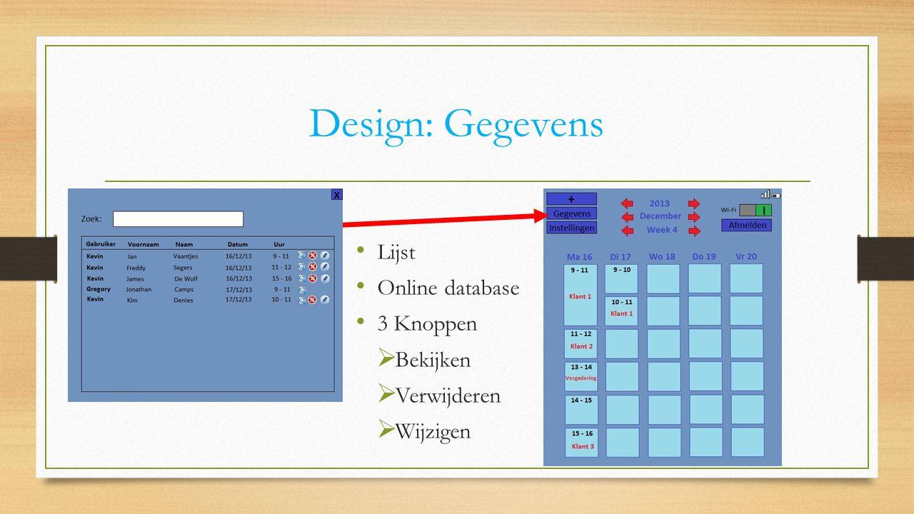 Design: Gegevens Lijst Online database 3 Knoppen  Bekijken  Verwijderen  Wijzigen