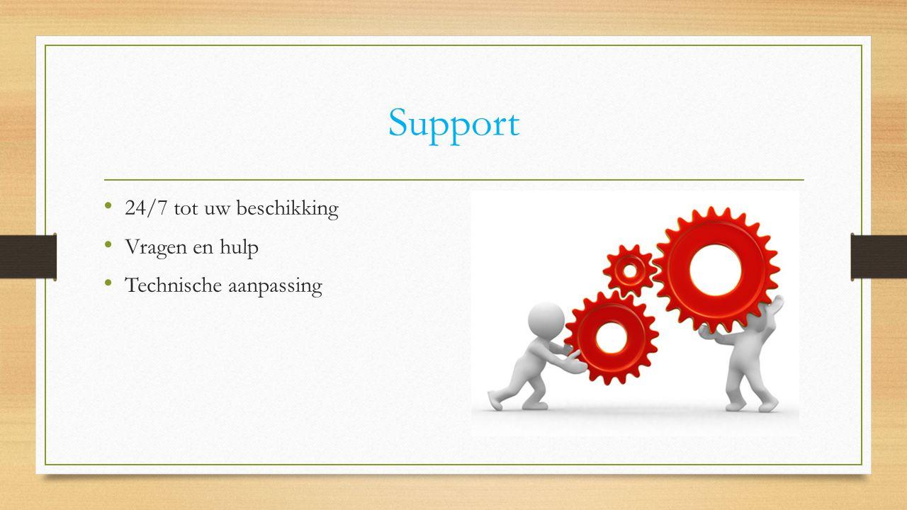 Support 24/7 tot uw beschikking Vragen en hulp Technische aanpassing