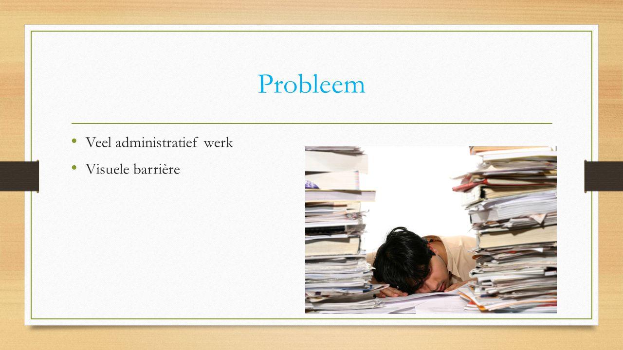 Probleem Veel administratief werk Visuele barrière