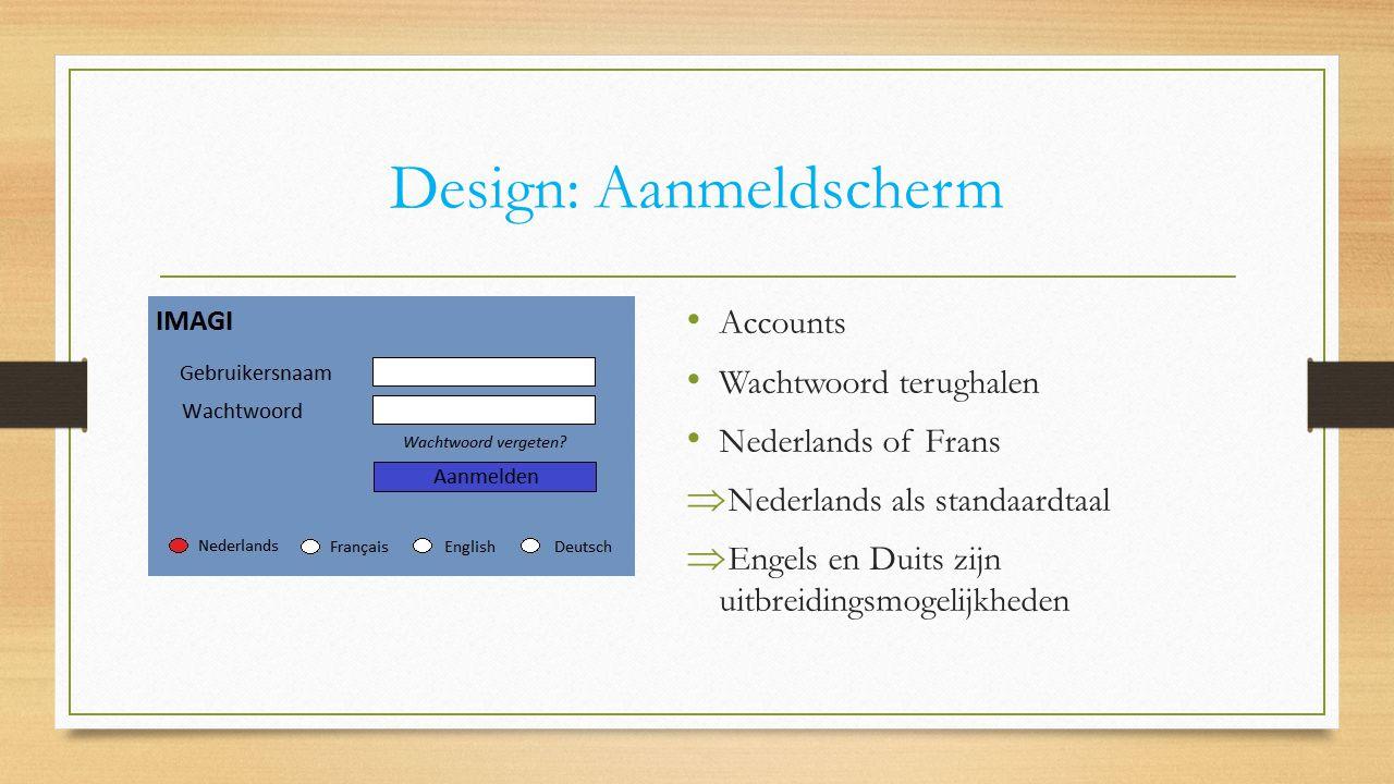 Design: Aanmeldscherm Accounts Wachtwoord terughalen Nederlands of Frans  Nederlands als standaardtaal  Engels en Duits zijn uitbreidingsmogelijkhed