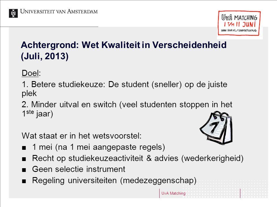 Achtergrond: Wet Kwaliteit in Verscheidenheid (Juli, 2013) Doel: 1. Betere studiekeuze: De student (sneller) op de juiste plek 2. Minder uitval en swi