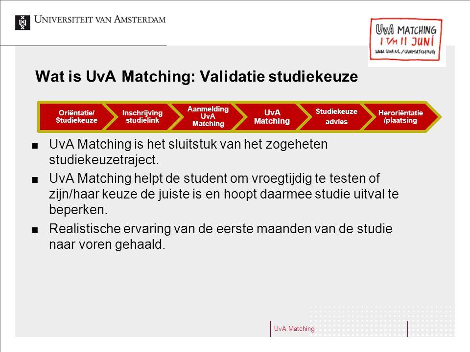 Wat is UvA Matching: Validatie studiekeuze UvA Matching is het sluitstuk van het zogeheten studiekeuzetraject. UvA Matching helpt de student om vroegt