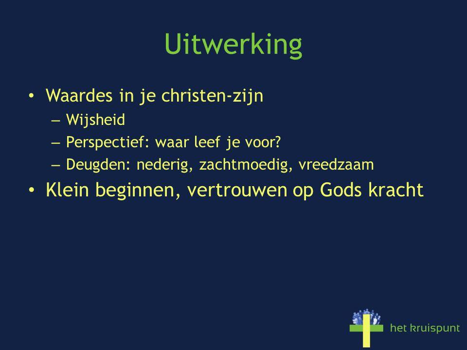 Uitwerking Waardes in je christen-zijn – Wijsheid – Perspectief: waar leef je voor? – Deugden: nederig, zachtmoedig, vreedzaam Klein beginnen, vertrou
