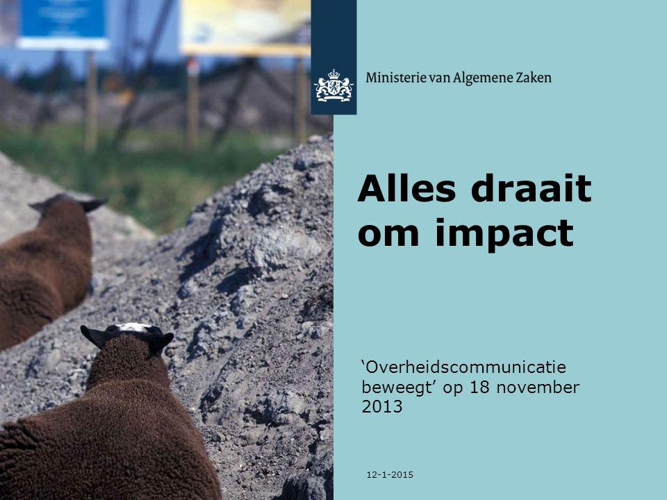 'Overheidscommunicatie beweegt' op 18 november 2013 12-1-2015 Alles draait om impact