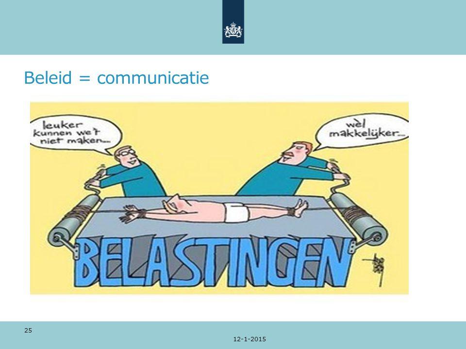 Beleid = communicatie 12-1-2015 25
