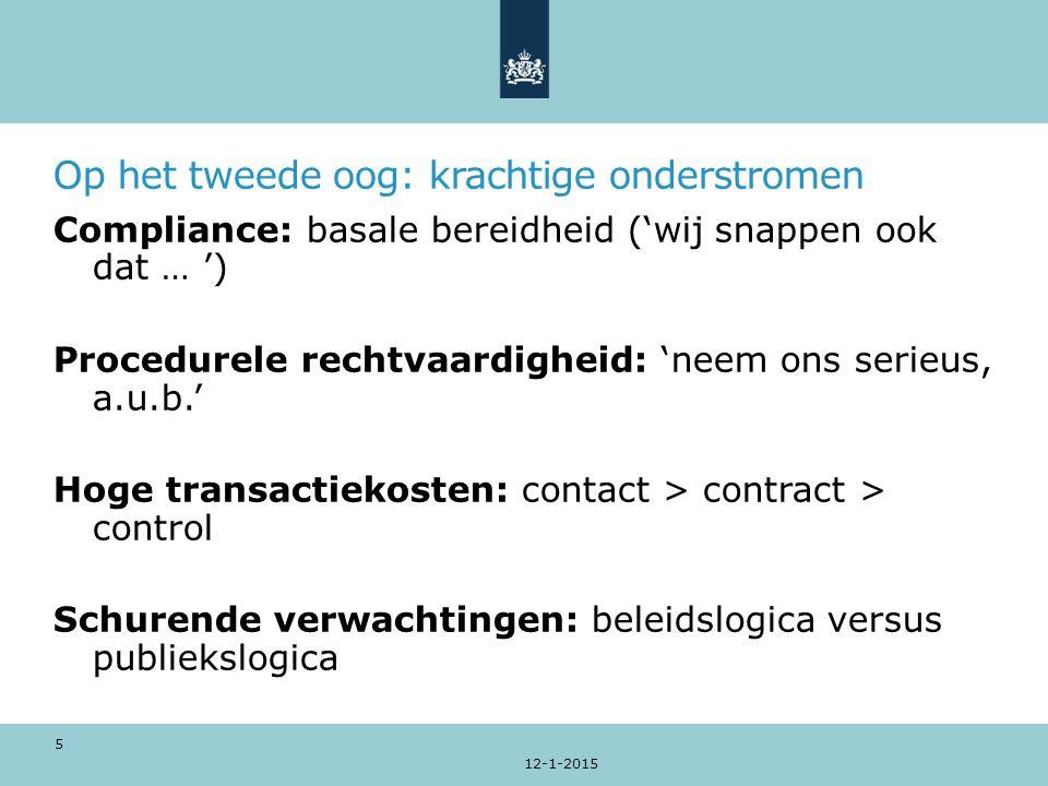 Op het tweede oog: krachtige onderstromen Compliance: basale bereidheid ('wij snappen ook dat … ') Procedurele rechtvaardigheid: 'neem ons serieus, a.u.b.' Hoge transactiekosten: contact > contract > control Schurende verwachtingen: beleidslogica versus publiekslogica 12-1-2015 5