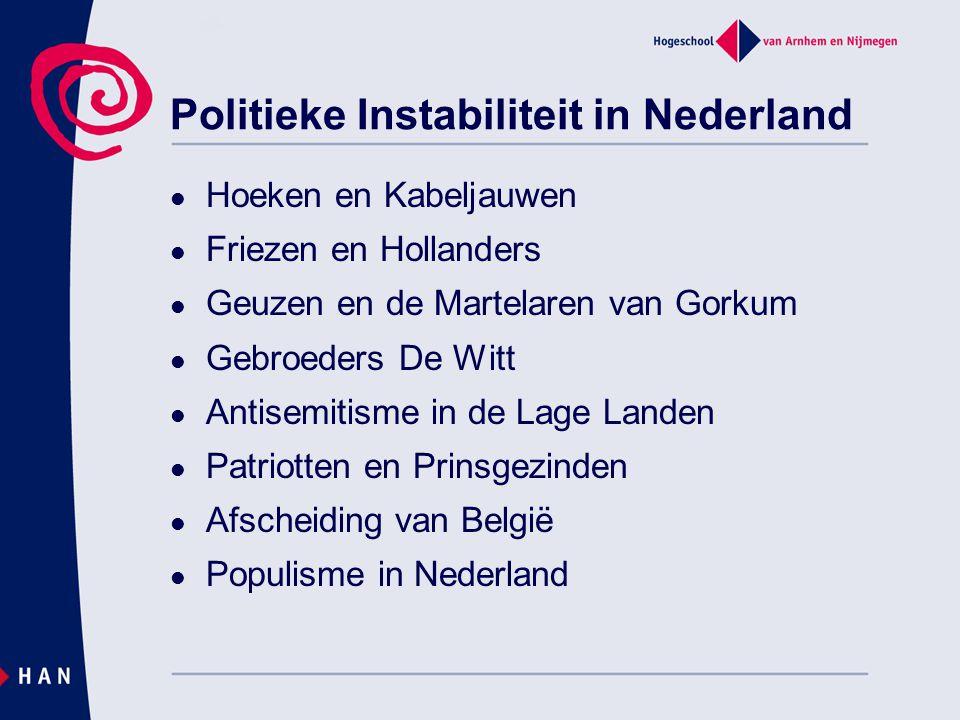 Politieke Instabiliteit in Nederland Hoeken en Kabeljauwen Friezen en Hollanders Geuzen en de Martelaren van Gorkum Gebroeders De Witt Antisemitisme i