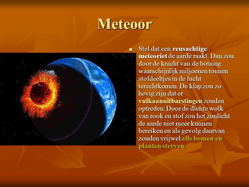 Meteoor Stel dat een reusachtige meteoriet de aarde raakt. Dan zou door de kracht van de botsing waarschijnlijk miljoenen tonnen stofdeeltjes in de lu