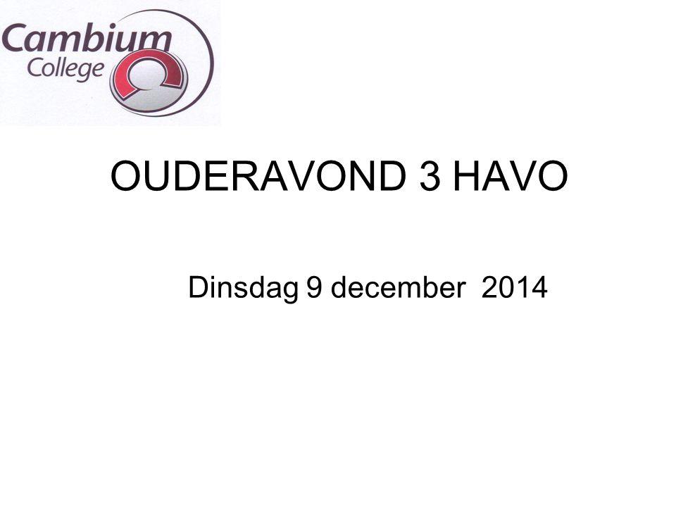 OUDERAVOND 3 HAVO Dinsdag 9 december 2014