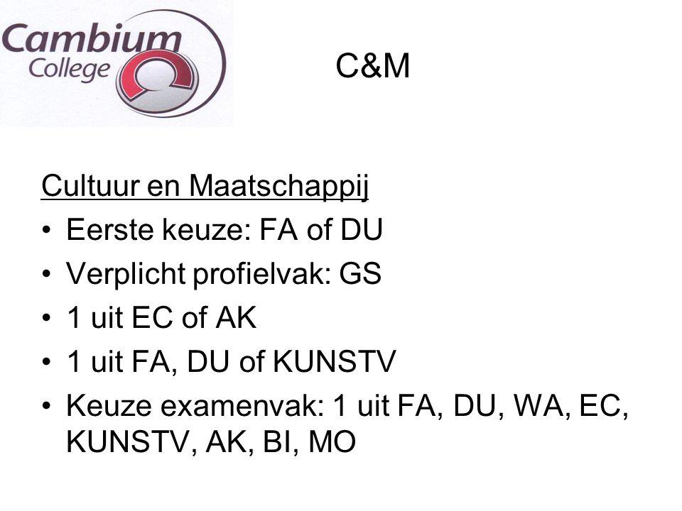 C&M Cultuur en Maatschappij Eerste keuze: FA of DU Verplicht profielvak: GS 1 uit EC of AK 1 uit FA, DU of KUNSTV Keuze examenvak: 1 uit FA, DU, WA, E
