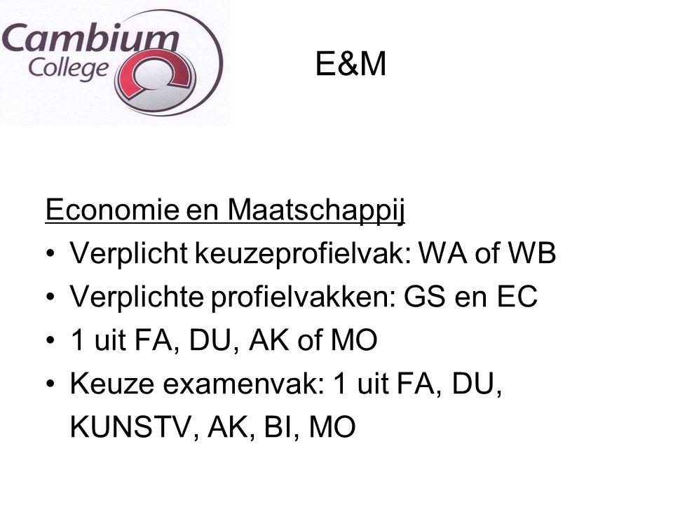 E&M Economie en Maatschappij Verplicht keuzeprofielvak: WA of WB Verplichte profielvakken: GS en EC 1 uit FA, DU, AK of MO Keuze examenvak: 1 uit FA,