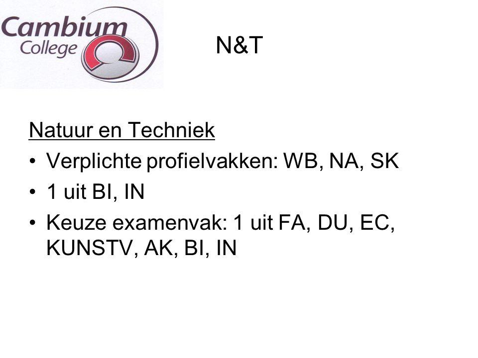 N&T Natuur en Techniek Verplichte profielvakken: WB, NA, SK 1 uit BI, IN Keuze examenvak: 1 uit FA, DU, EC, KUNSTV, AK, BI, IN