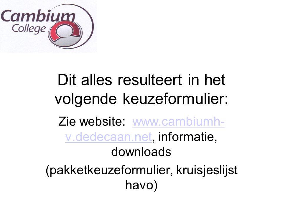 Dit alles resulteert in het volgende keuzeformulier: Zie website: www.cambiumh- v.dedecaan.net, informatie, downloadswww.cambiumh- v.dedecaan.net (pak