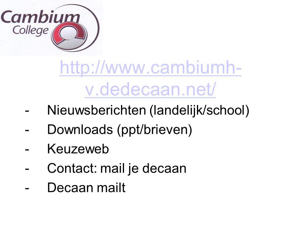 http://www.cambiumh- v.dedecaan.net/ -Nieuwsberichten (landelijk/school) -Downloads (ppt/brieven) -Keuzeweb -Contact: mail je decaan -Decaan mailt