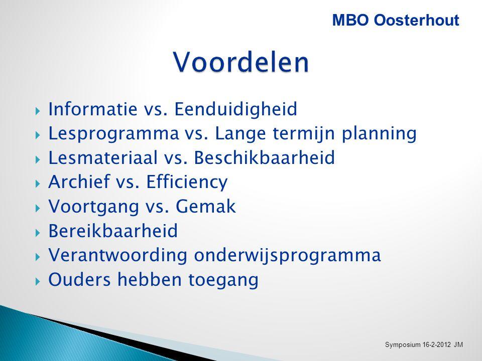  Klikken  Beheer en gebruik MBO Oosterhout Symposium 16-2-2012 JM