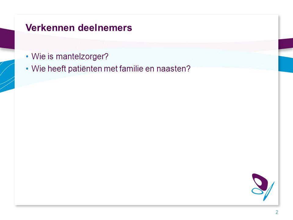 Verkennen deelnemers Wie is mantelzorger? Wie heeft patiënten met familie en naasten? 2