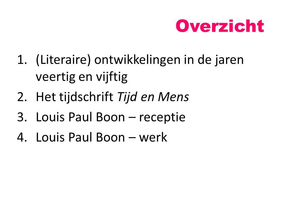 Overzicht 1.(Literaire) ontwikkelingen in de jaren veertig en vijftig 2.Het tijdschrift Tijd en Mens 3.Louis Paul Boon – receptie 4.Louis Paul Boon –