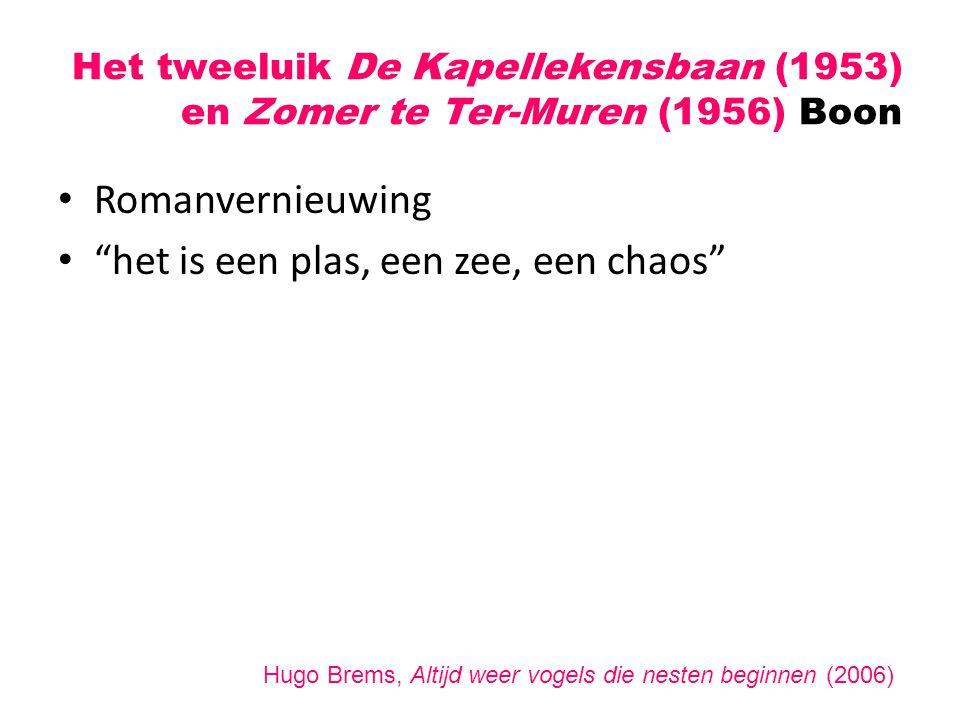 """Het tweeluik De Kapellekensbaan (1953) en Zomer te Ter-Muren (1956) Boon Romanvernieuwing """"het is een plas, een zee, een chaos"""" Hugo Brems, Altijd wee"""