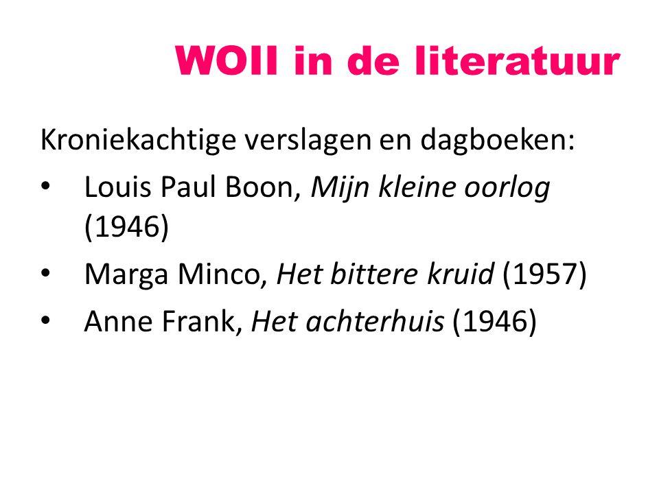 Kroniekachtige verslagen en dagboeken: Louis Paul Boon, Mijn kleine oorlog (1946) Marga Minco, Het bittere kruid (1957) Anne Frank, Het achterhuis (19