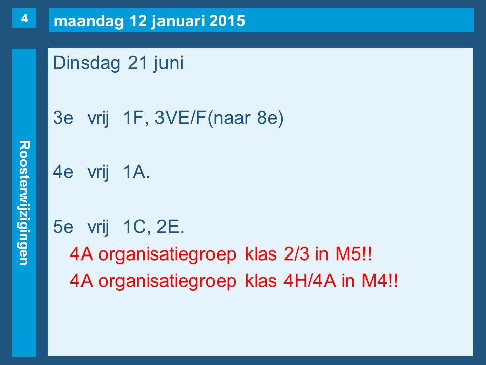 maandag 12 januari 2015 Roosterwijzigingen Dinsdag 21 juni 3evrij1F, 3VE/F(naar 8e) 4evrij1A.
